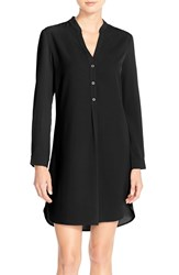 Charles Henry Button Up Crepe Shirtdress Black