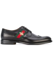 Gucci Bee Embroidery Derby Shoes Men Leather 7 Black