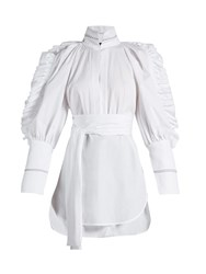 Ellery Angelface High Neck Ruffle Trimmed Top White