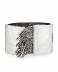 Rebecca Minkoff Crystal And Chain Fringe Cuff Bracelet No Color