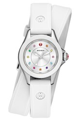Women's Michele 'Cape' Topaz Dial Double Wrap Silicone Strap Watch 27Mm White Silver