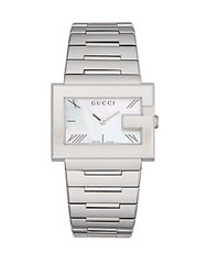 Gucci G Rectangle Mother Of Pearl And Stainless Steel Bracelet Watch