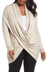 Nordstrom Plus Size Lingerie Wrap Front Cardigan Oatmeal Heather