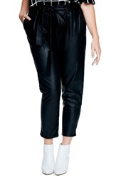 Elvi Plus Size Women's Faux Crop Leather Trousers