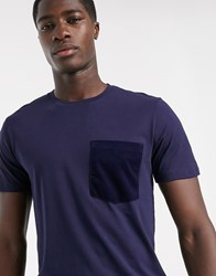 Selected Homme Organic Cord Pocket Detail T Shirt In Navy