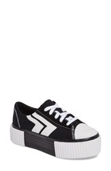 Jeffrey Campbell Women's Mongo Platform Sneaker Black White Canvas