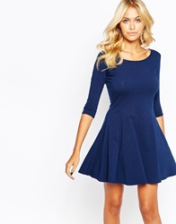 Boohoo 3 4 Sleeve Skater Dress Navy