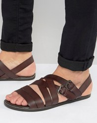Asos Sandals In Burgundy Leather With Buckles Red