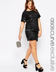Asos Curve Co Ord Festival Shorts In Sequin Black