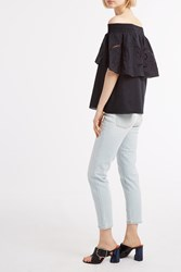 Tibi Women S Ruffle Embroidered Top Boutique1 Black