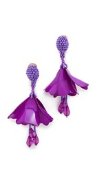 Oscar De La Renta Small Impatiens Drop Clip On Earrings Purple