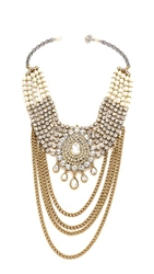 Laura Cantu Large Drop Rhinestone Necklace Clear Brass