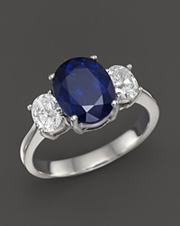 Bloomingdale's Sapphire And Diamond Three Stone Ring In 14K White Gold Blue