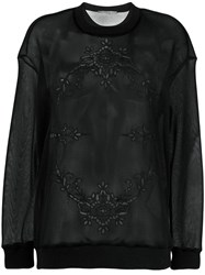 Stella Mccartney Sheer Embroidered Sweatshirt Black