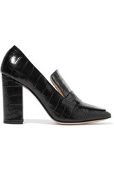 Iris And Ink Croc Effect Leather Pumps Black