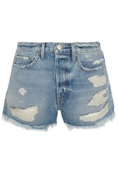 Frame Original Distressed Denim Shorts Mid Denim