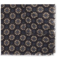 Anderson And Sheppard Printed Wool Yak Blend Pocket Square Navy