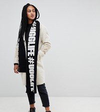 Ugg Life Slogan Scarf In Black