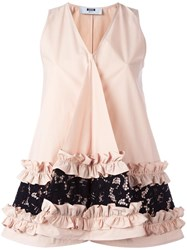 Msgm Ruffle And Lace Detail Sleeveless Top Nude Neutrals