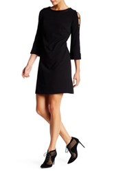 Donna Ricco Long Sleeve Faux Leather Trim Sheath Dress Black