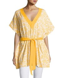 Michael Michael Kors V Neck Floral Printed Tunic Yellow Pattern