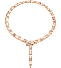 Bulgari Serpenti 18Ct Pink Gold Necklace With Pave Diamonds