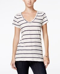 Maison Jules Striped V Neck T Shirt Only At Macy's Blu Notte Combo