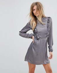 Ax Paris Frill Detail Long Sleeve Shift Dress Grey