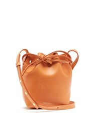 Mansur Gavriel Pink Lined Mini Mini Leather Bucket Bag Brown Multi