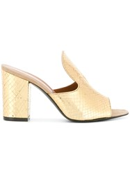 Via Roma 15 Metallic Snakeskin Effect Mules