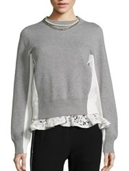 Sacai Pearl And Lace Colorblock Sweatshirt Light Grey White