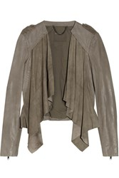 Muubaa Lupus Draped Suede And Leather Biker Jacket Gray