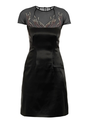 Marios Schwab Embroidered Stretch Satin Dress