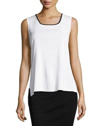 Ming Wang Contrast Trim Scoop Neck Knit Tank Whb