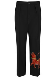 Gucci Tiger Embroidered Cropped Wool Trousers Black