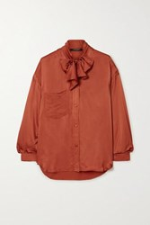 Mother Of Pearl Net Sustain Elaine Pussy Bow Embellished Satin Jacquard Shirt Brick
