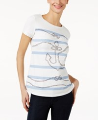 Max Mara Weekend Eufrate Anchor Graphic T Shirt Optical White