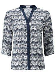 Eastex Contrast Tipped Zig Zag Blouse Multi Coloured