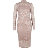 River Island Womens Light Pink Lace Turtleneck Bodycon Dress