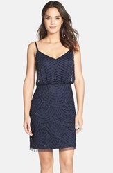 Women's Adrianna Papell Sequin Mesh Blouson Dress Navy Black