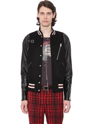 Coach 1941 Wool Flannel And Leather Bomber Jacket