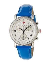 Michele Csx Diamond Chronograph Watch W Patent Leather Strap Pacific Blue