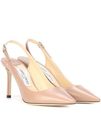 Jimmy Choo Erin 85 Leather Sling Back Pumps Neutrals