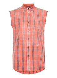 Topman Grey Sleeveless Orange And Red Check Shirt