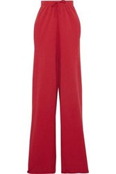 Vetements French Cotton Blend Terry Wide Leg Pants Red