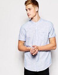 New Look Short Sleeve Shirt In Texture Slub With Grandad Neckline Paleblue