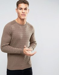 Selected Cable Knitted Jumper Brown