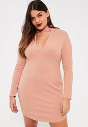 Missguided Plus Size Pink Choker Neck Curve Hem Mini Dress Rose
