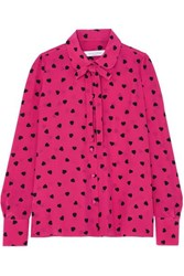 Valentino Pussy Bow Printed Silk Blouse Bright Pink