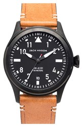 Men's Jack Mason Brand 'Aviation' Leather Strap Watch 42Mm Black Black Tan